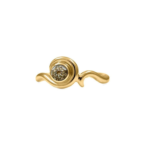 Entwine Solitaire Ring In Gold With Champagne Diamond ,[product vendor],JewelStreet