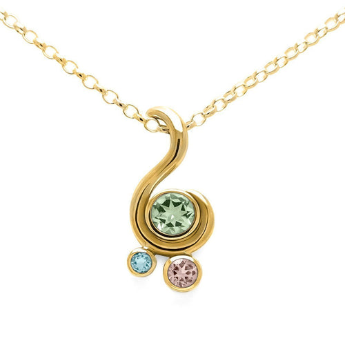 Entwine Three Stone Pendant In Gold ,[product vendor],JewelStreet