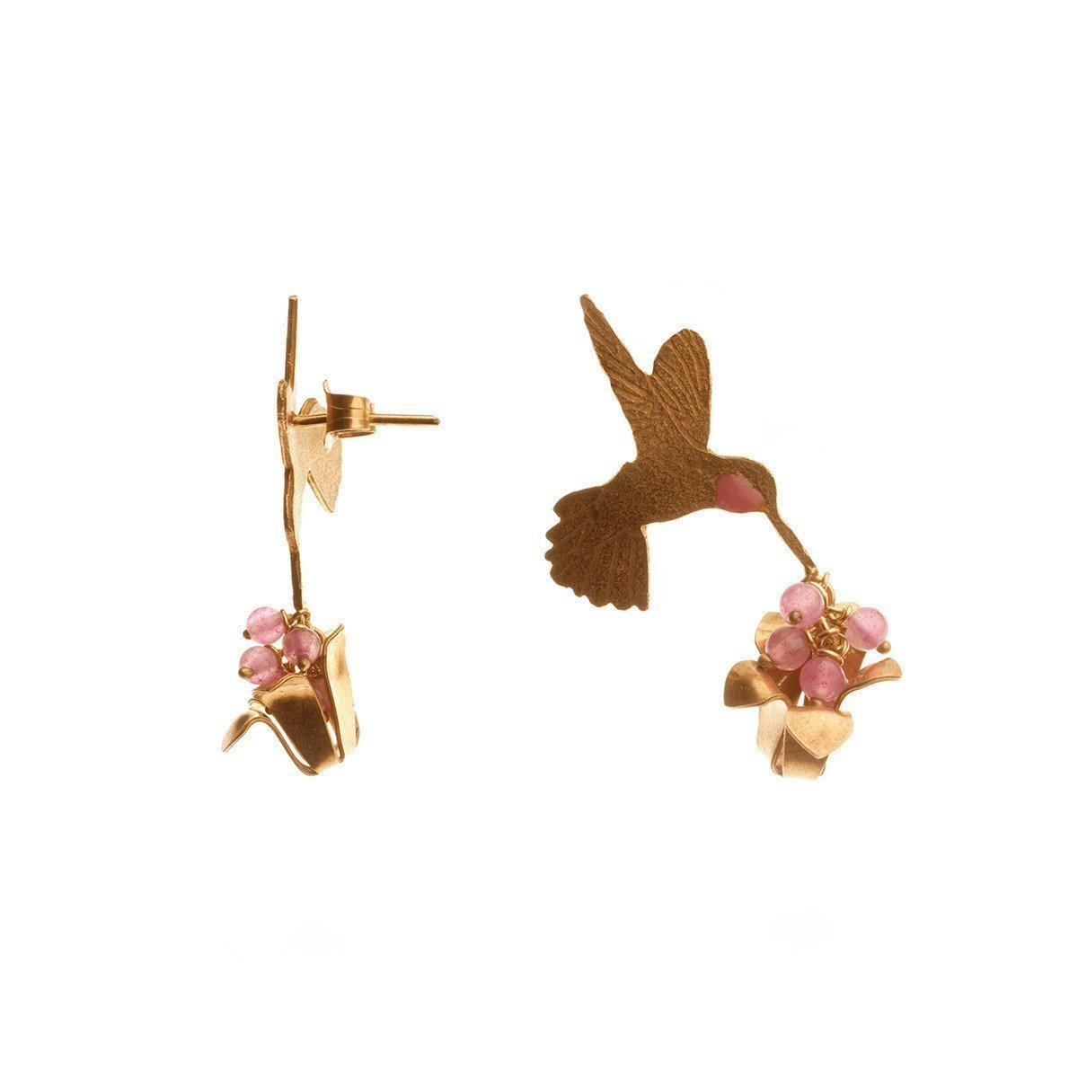 Gold Plated Humming Bird and Flower Earrings-Earrings-Amanda Coleman-JewelStreet