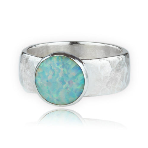 Handmade Silver Hammered Band Set With White Opal-Rings-Lavan-JewelStreet
