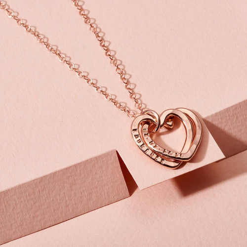 Personalised Interlinking Hearts Necklace Rose Gold Plated ,[product vendor],JewelStreet