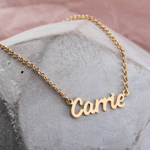 Personalised Name Necklace Yellow Gold Plated ,[product vendor],JewelStreet