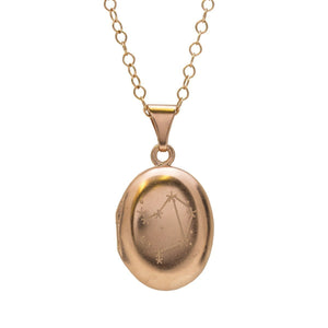 Personalised Zodiac Constellation Locket Necklace Rose Gold Plated