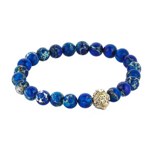 Solid Gold Leo Beaded Bracelet ,[product vendor],JewelStreet