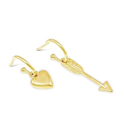 Heart and Arrow Hoop Earrings Gold-Earrings-Vicky Davies-JewelStreet