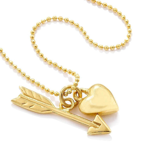 Sterling Silver & Gold Heart & Arrow Pendant Necklace ,[product vendor],JewelStreet
