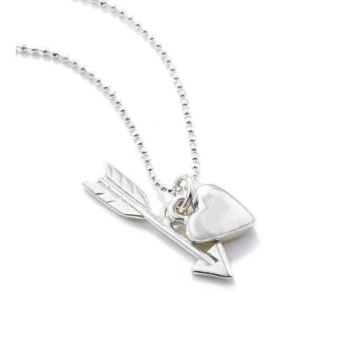 Heart & Arrow Pendant Silver-Necklaces-Vicky Davies-JewelStreet