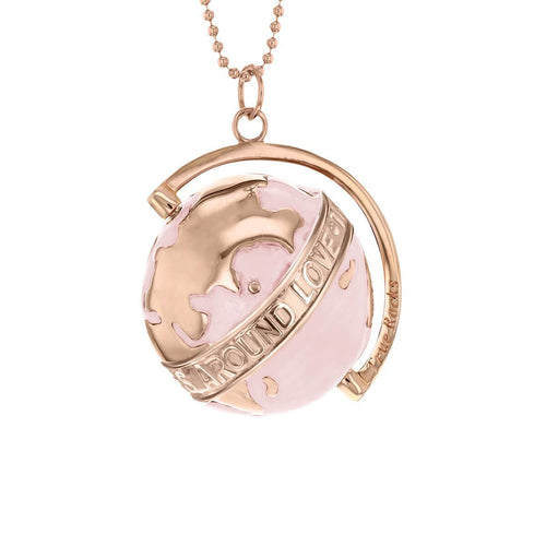 18kt Rose Gold Plated & Blush Medium Spinning Globe Necklace
