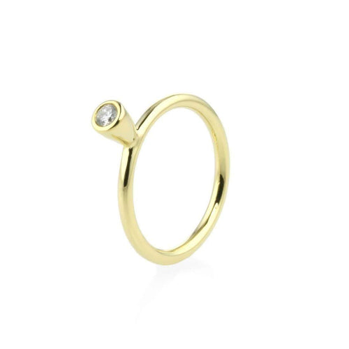 18kt Yellow Gold Stacking Ring With Diamond - 0.10ct-Prism Design-JewelStreet EU
