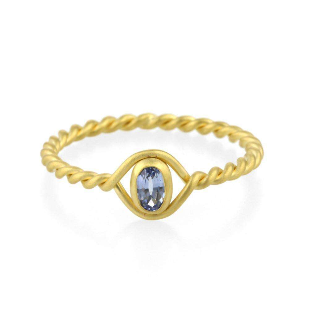 9kt Gold Sapphire Twist Ring-Prism Design-JewelStreet EU
