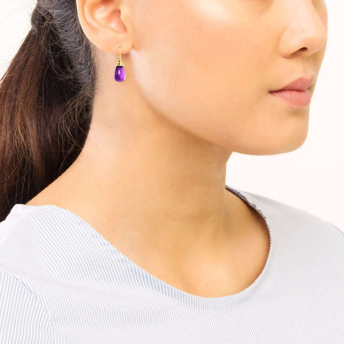 18kt Amethyst Drop Earrings-Syna-JewelStreet EU