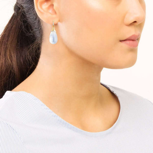 18kt Moon Quartz Drop Earrings-Syna-JewelStreet EU