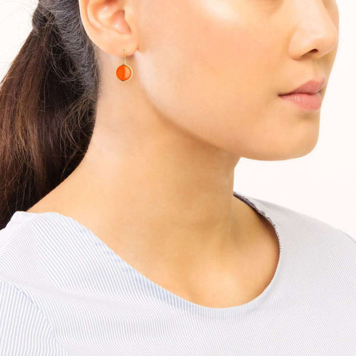 18kt Orange Chalcedony Chakra Earrings-Syna-JewelStreet EU