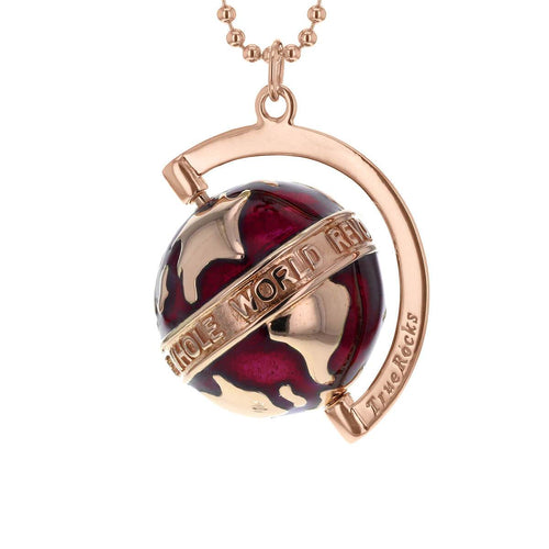 18kt Rose Gold Plated & Scarlet Medium Spinning Globe Necklace