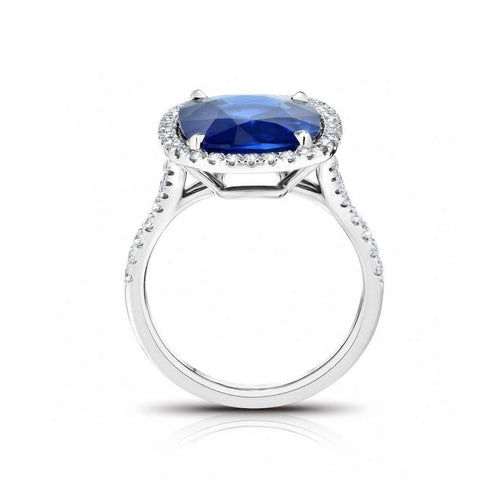 Blue Sapphire Cushion Ring-David Gross-JewelStreet EU