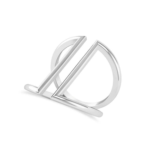 White Gold Abstract Double Bar Fashion Ring | Allurez