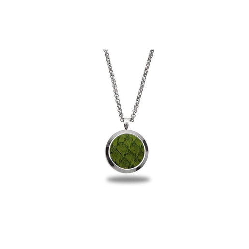 Green Atlantic Salmon Leather Pendant - Stainless Steel-Necklaces-Marlin Birna-JewelStreet