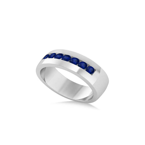 White Gold & Blue Sapphire Men's Wedding Band | Allurez