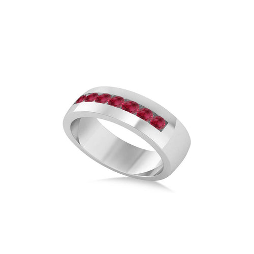 White Gold & Ruby Channel Set Wedding Band | Allurez