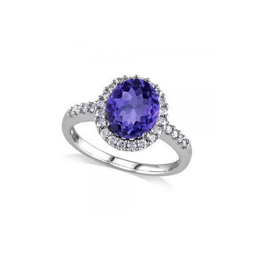White Gold Oval Tanzanite & Halo Diamond Engagement Ring | Allurez