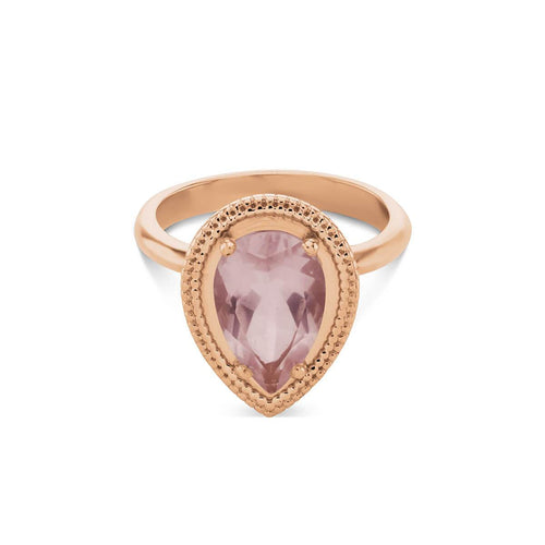 9kt Rose Gold Rose Quartz Teardrop Ring