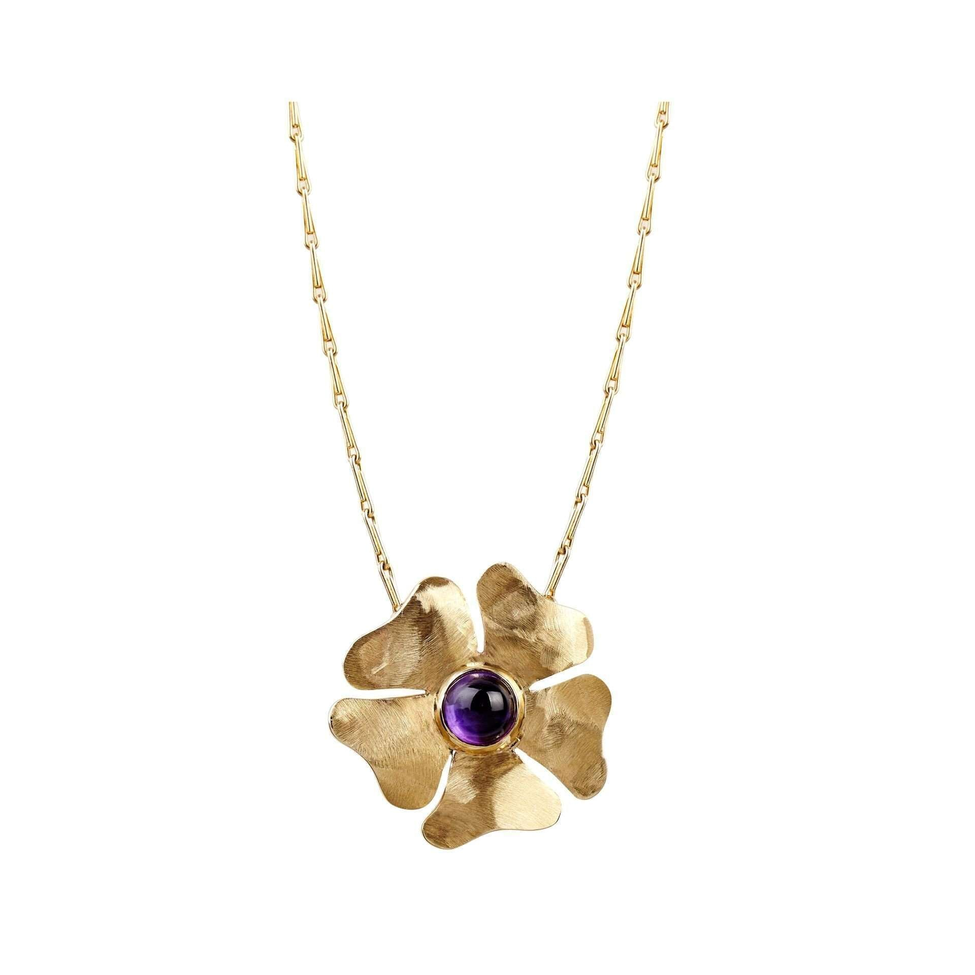 Gold and Amethyst Flower Pendant-Luke Goldsmith-JewelStreet EU