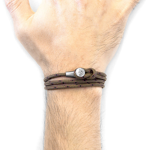 Brown Dundee Silver and Rope Bracelet ,[product vendor],JewelStreet