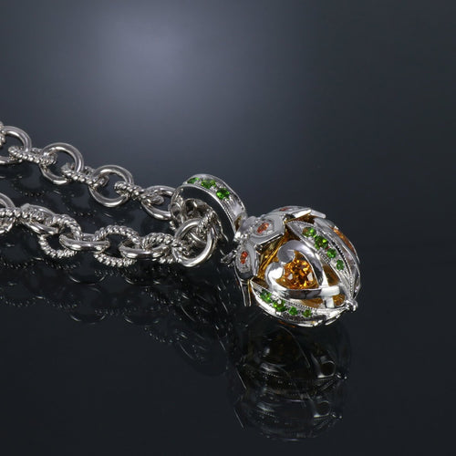 Sterling Silver Jewelled Acorn Citrine Pendant Necklace