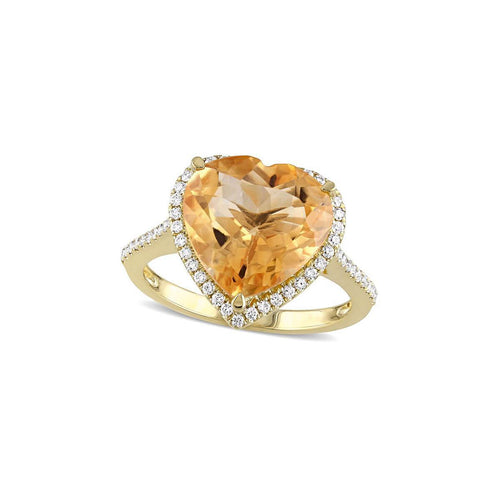 Yellow Gold Citrine & Diamond Heart Ring | Allurez