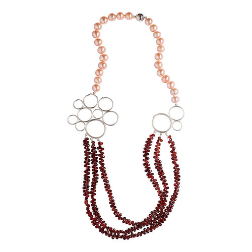 Anna Necklace With Pearls And Red Garnet-Jewellery Design Marie-Benedicte-JewelStreet EU