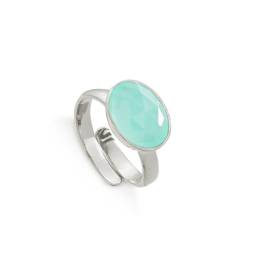 Atomic Maxi Light Green Chalcedony Sterling Silver Adjustable Ring