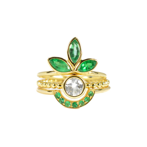 18kt Yellow Gold For Mara Ring With Emeralds