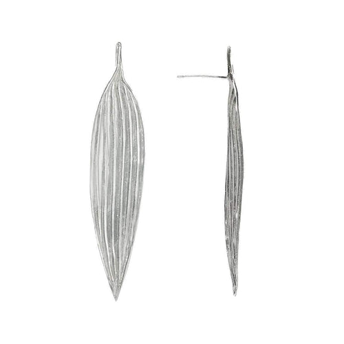 Large Bamboo Leaf Earrings ,[product vendor],JewelStreet