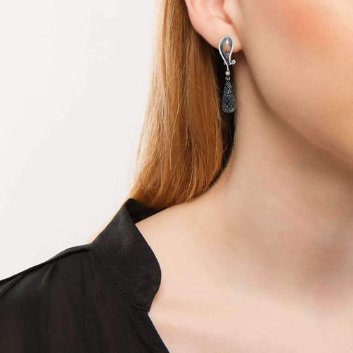 Black Diamonds And White Gold Calla Earrings-Alex Soldier-JewelStreet US