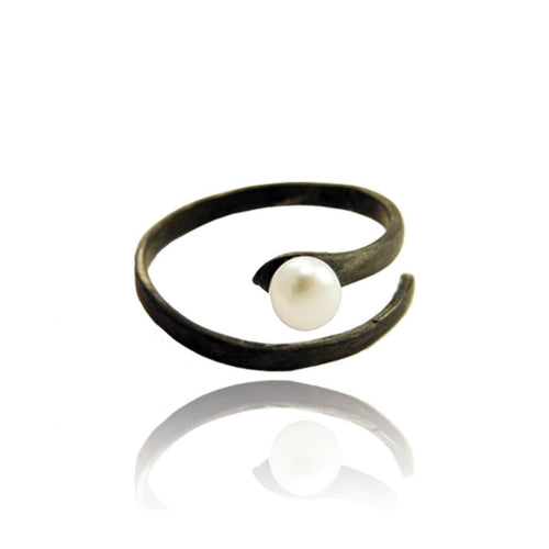 Black Rhodium Plated Black Pearl Open Ring