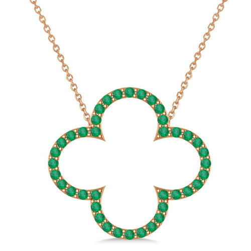 Rose Gold & Emerald Clover Pendant Necklace | Allurez