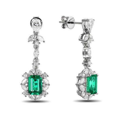 Emerald Diamond Earrings-SILVER YULAN-JewelStreet EU