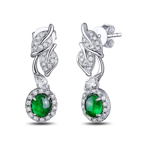 Cabochon Emerald Diamond Leaf Earrings-SILVER YULAN-JewelStreet EU