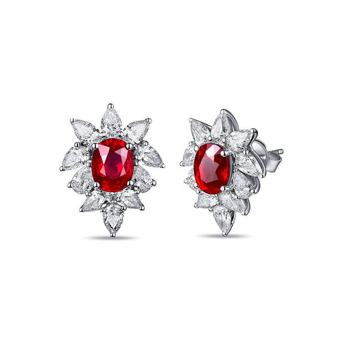 Cushion Cut Ruby Diamond Studs-SILVER YULAN-JewelStreet EU