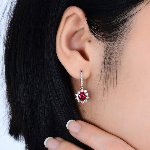 Ruby Diamond Cluster Earrings-SILVER YULAN-JewelStreet EU
