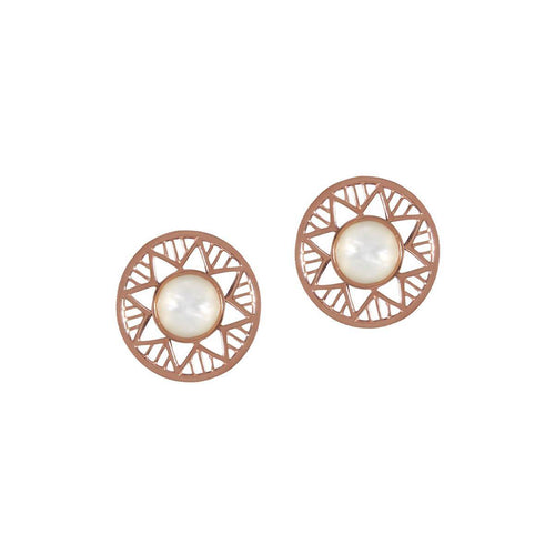 Yellow Gold Plated Chelsea Earrings With Rose Pearl ,[product vendor],JewelStreet