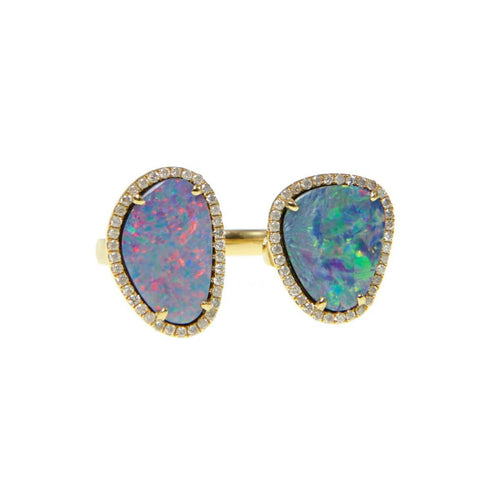 Double Opal Slice & Diamond Ring