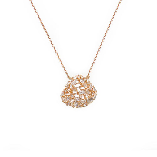 Organic Shaped Baguette Diamond Necklace