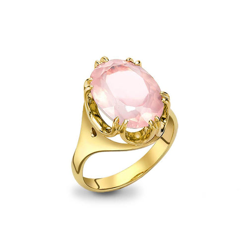 9kt Yellow Gold Elegant Rose Quartz Cocktail Ring