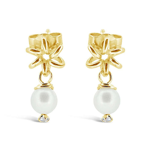 Yellow Gold Earrings Swarovski Pearl-Maree London-JewelStreet EU