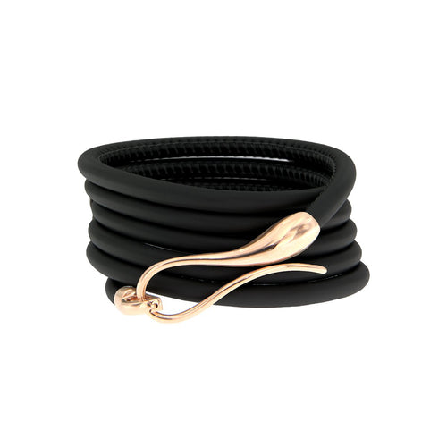 Elika Plain Bracelet Black Leather-Dada Arrigoni Jewelry-JewelStreet EU