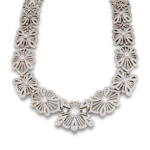 White Gold & Diamond Lace Collar Necklace | Katherine LeGrand