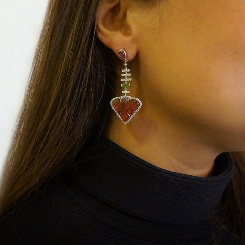 Carved Tourmaline Leaf & Diamond Drop Earrings
