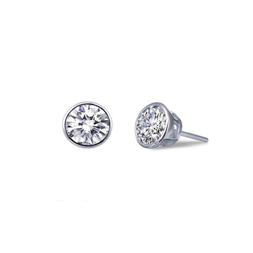 Lafonn Platinum Plated Bezel-set Stud Earrings, 2.06cts