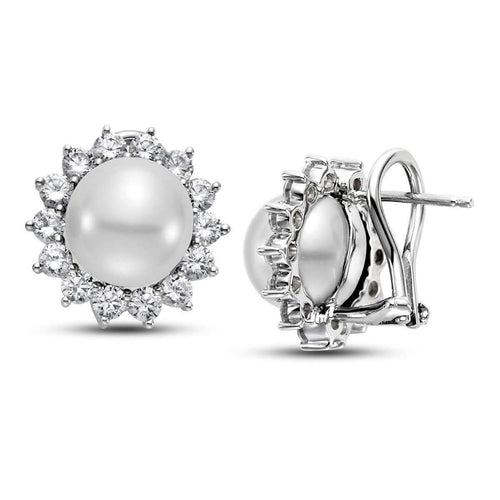 14kt White Gold South Sea Pearl And Diamond Earrings-Isaac Westman-JewelStreet EU